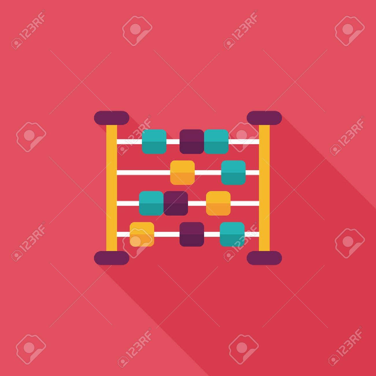 abacus calculation flat icon with long shadow - 31698570
