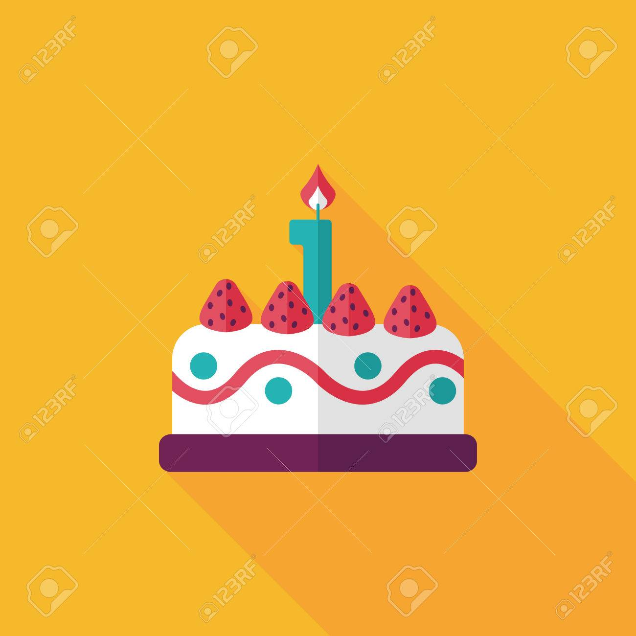 birthday cake flat icon with long shadow,eps10 - 31698495