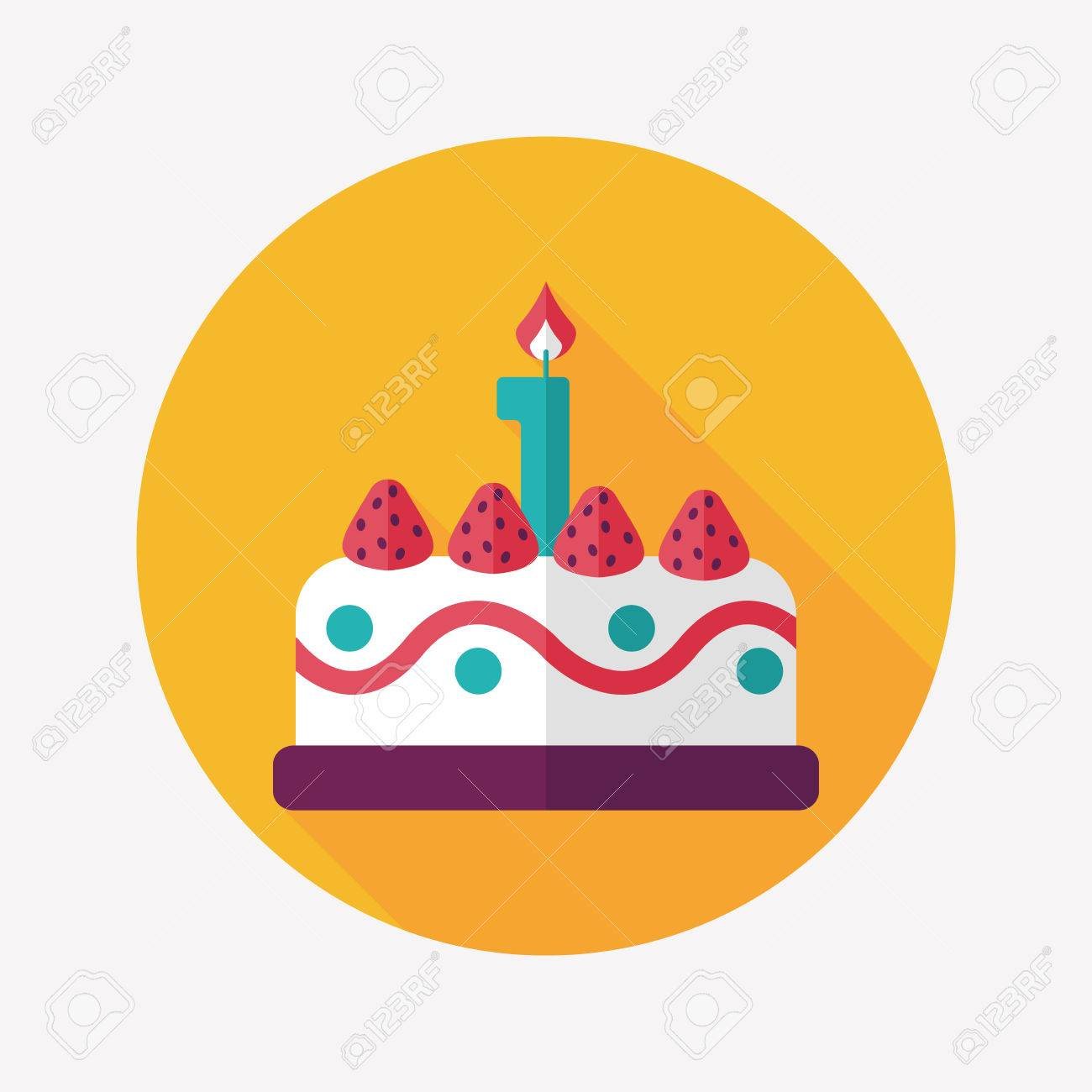birthday cake flat icon with long shadow,eps10 - 31698497
