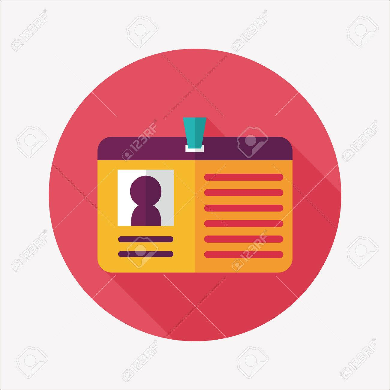 Identification card flat icon with long shadow - 31698339
