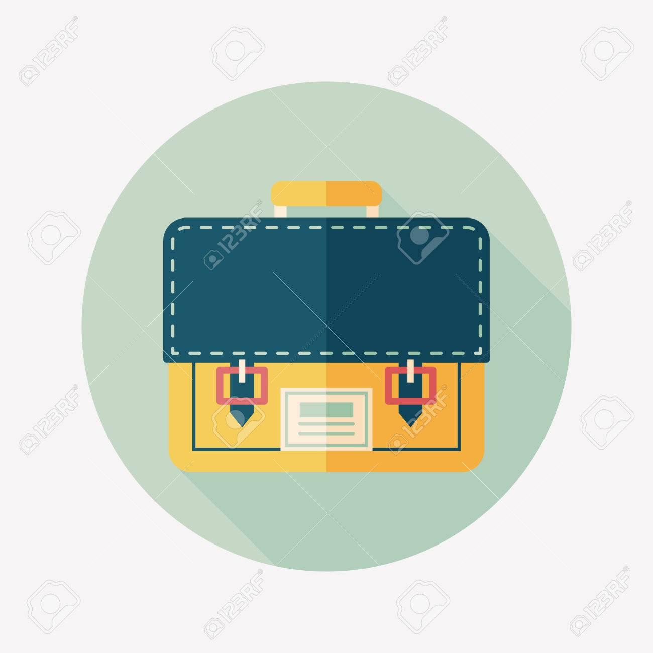 School bag diagram - Vector Briefcase School Bag Flat Icon With Long Shadow Eps10
