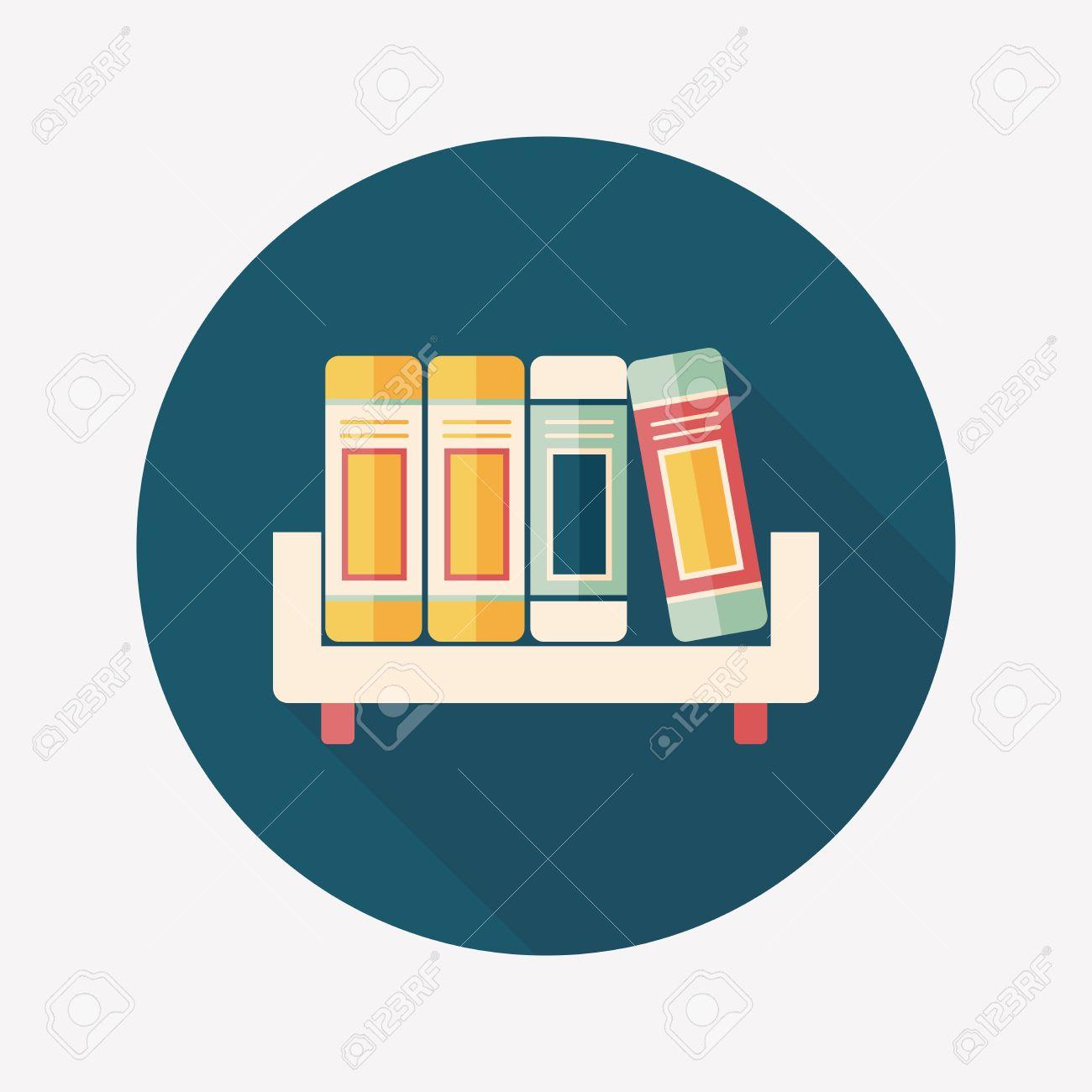 bookshelf flat icon with long shadow,eps10 - 31696584