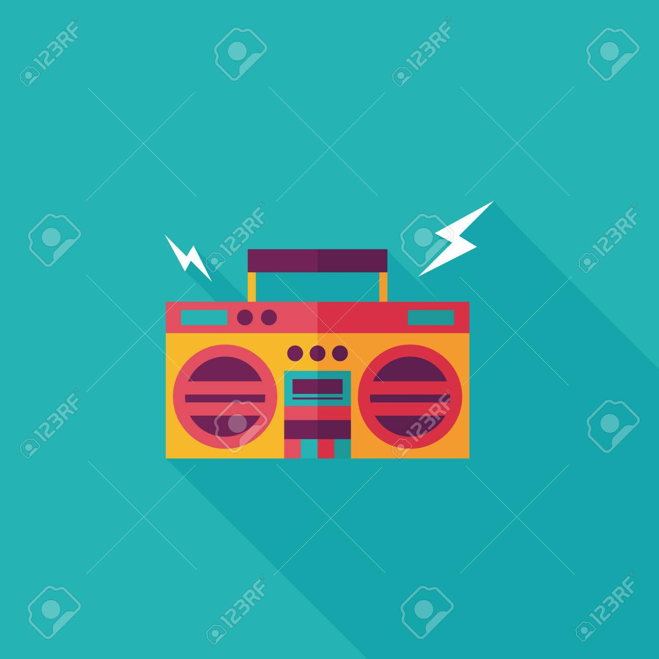 ghetto blaster audio flat icon with long shadow,eps10 - 31697246