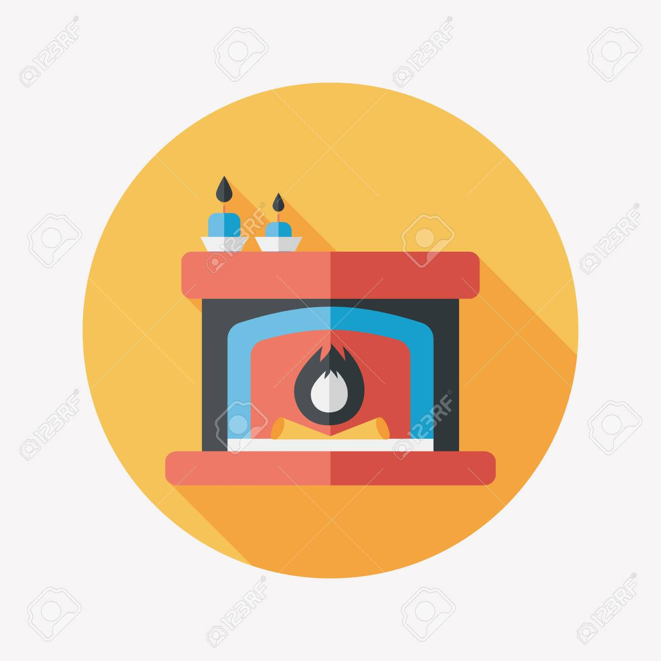 christmas fireplace flat icon with long shadow royalty free