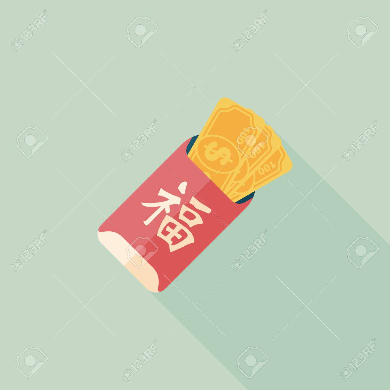 Chinese New Year red envelope flat icon with long shadow - 32219963