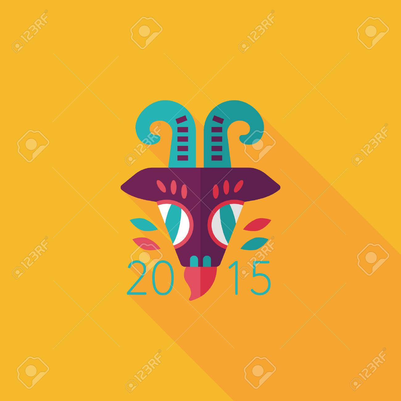 Chinese New Year flat icon with long shadow, Chinese Zodiac Year of the Goat, 2015 - 32361052