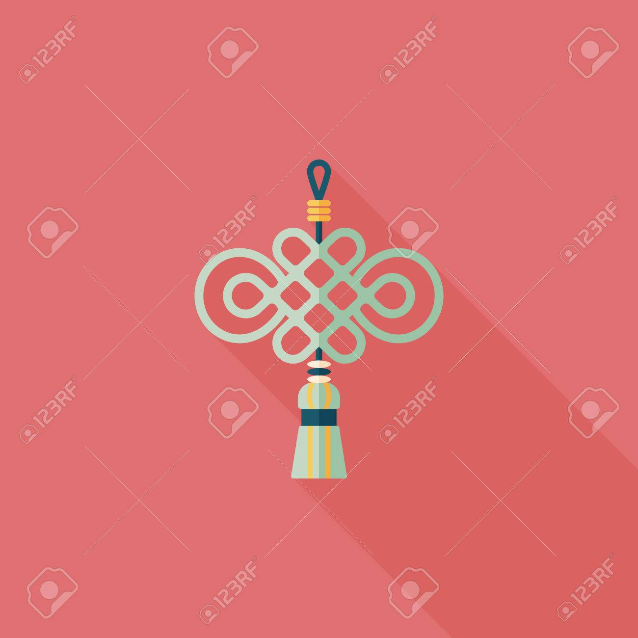 Chinese New Year flat icon with long shadow, lucky Chinese knot - 32369831