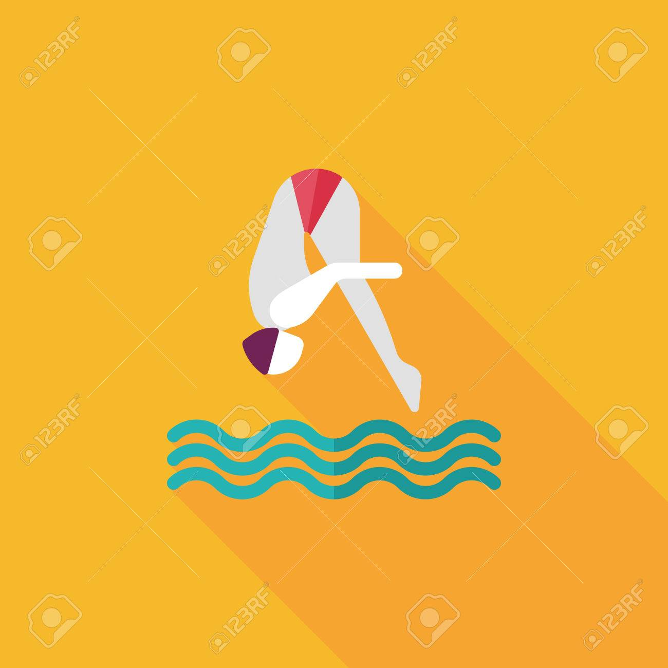 Jump Diving flat icon with long shadow - 32888822