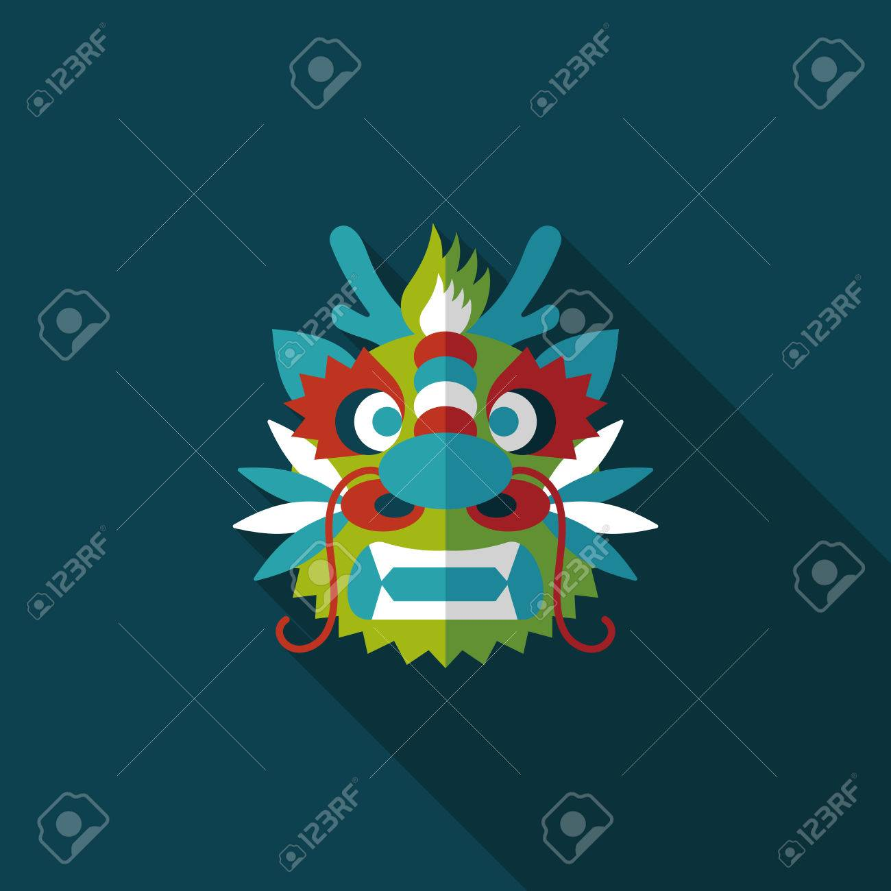 chinese new year flat icon with long shadowthe dragon and lion dancing head stock - How Long Is Chinese New Year