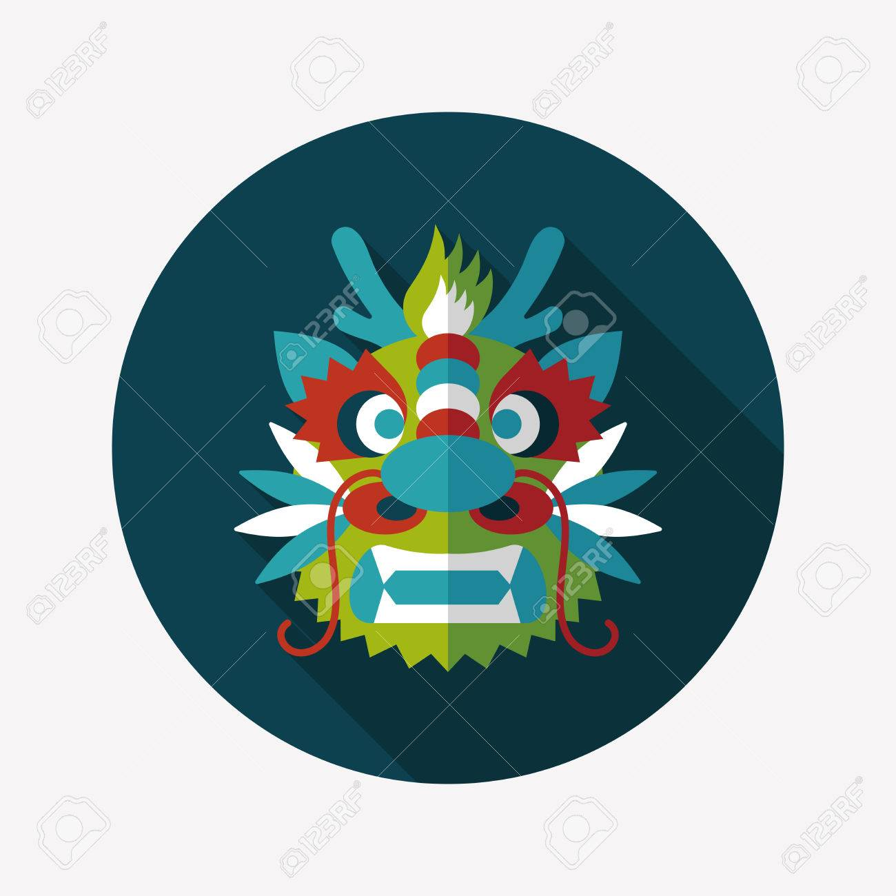 chinese new year flat icon with long shadowthe dragon and lion dancing head stock - How Long Is The Chinese New Year