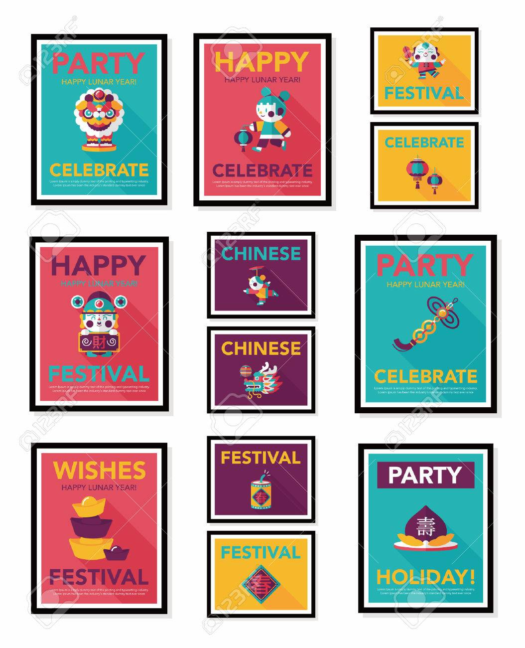 Chinese New Year poster flat banner design flat - 32993564
