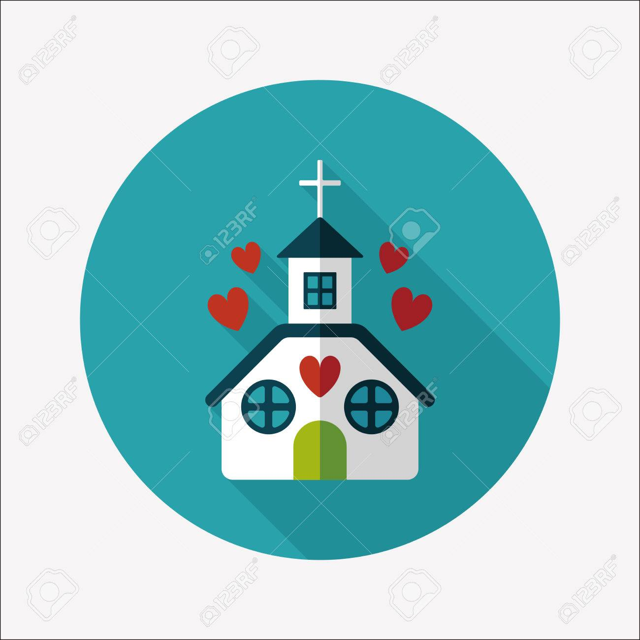 Valentine's Day wedding church flat icon with long shadow,eps10 - 33845956