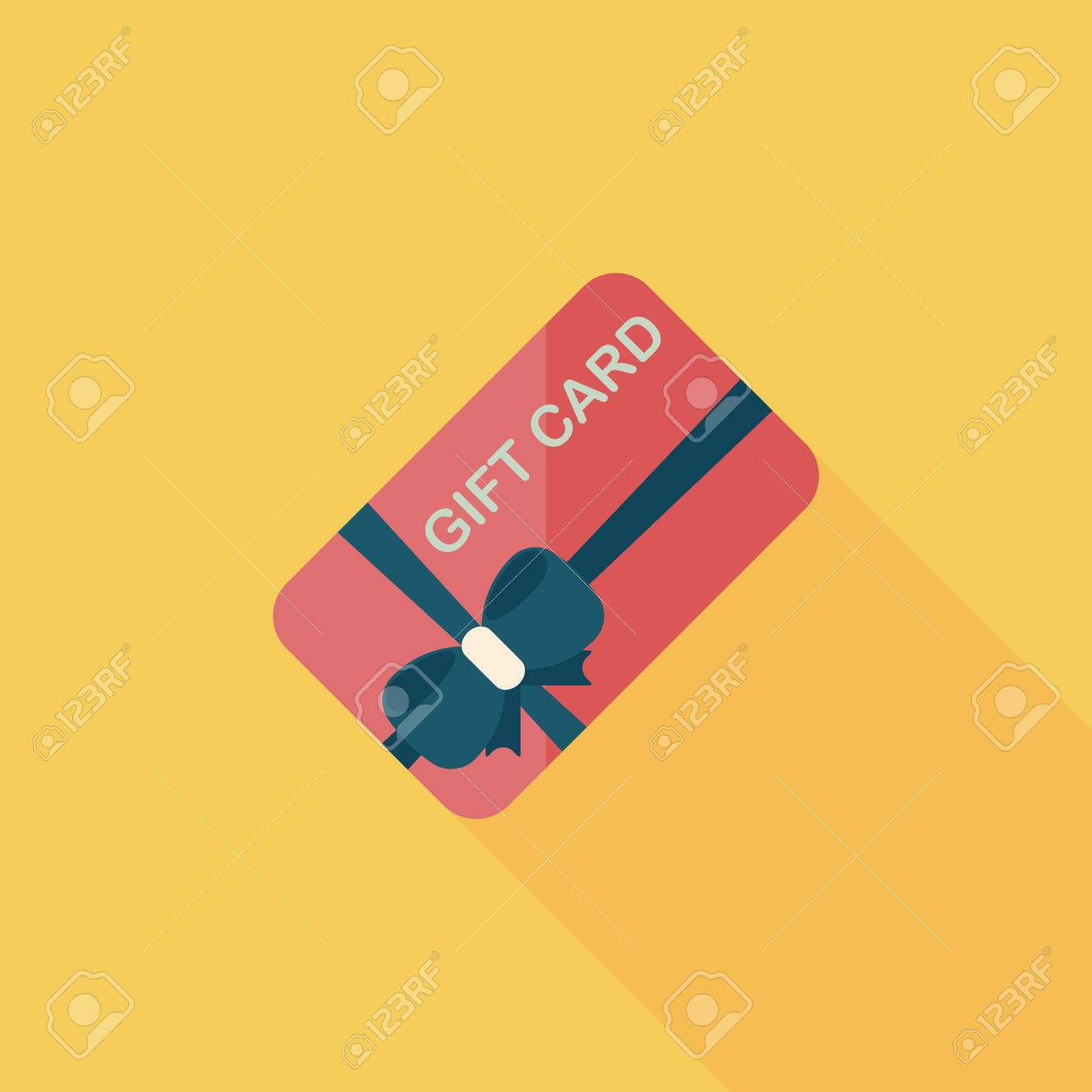 shopping gift card flat icon with long shadow,eps10 - 34104517