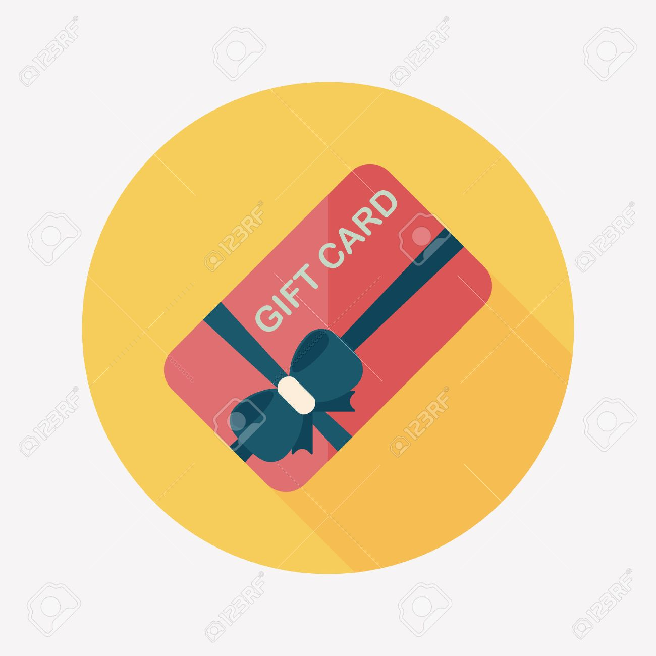 shopping gift card flat icon with long shadow,eps10 - 34110307