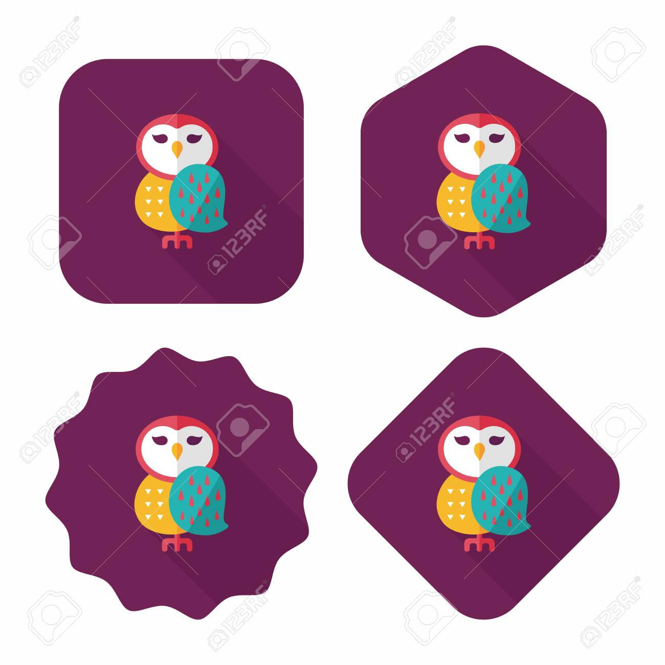 halloween owl flat icon with long shadow,eps10 royalty free cliparts