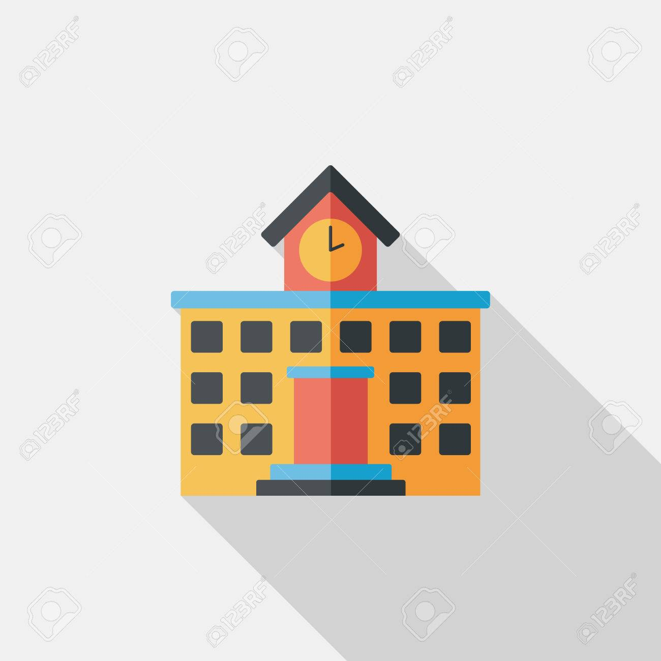 Building school flat icon with long shadow,eps10 - 34897488
