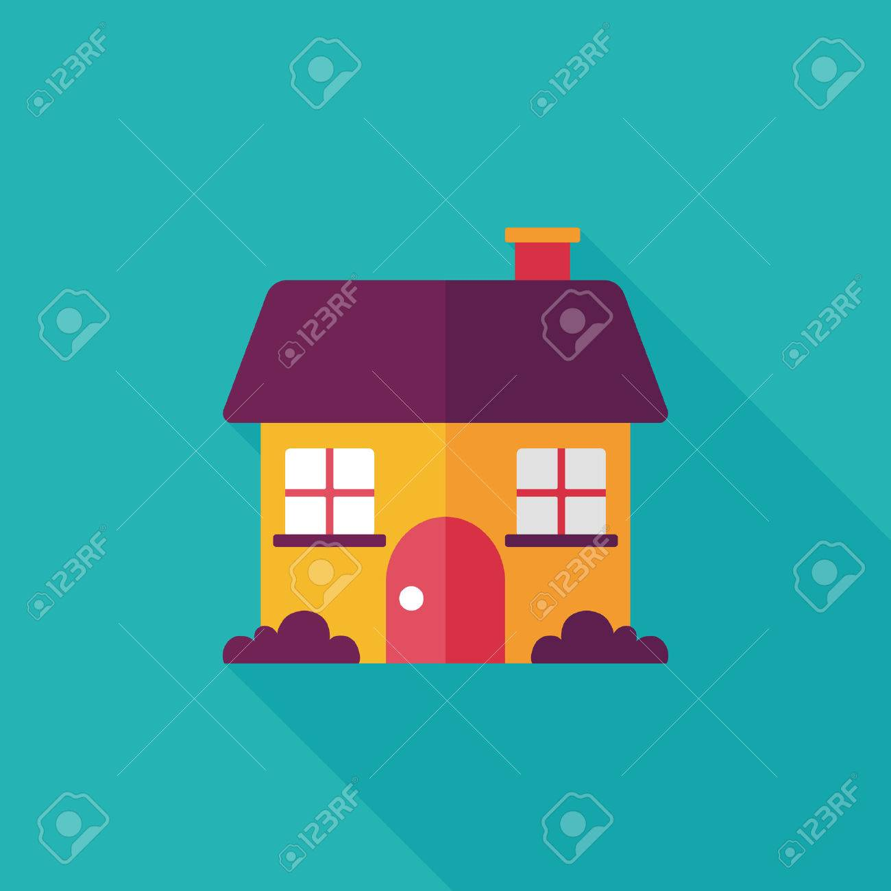 Building house flat icon with long shadow,eps10 - 34897515