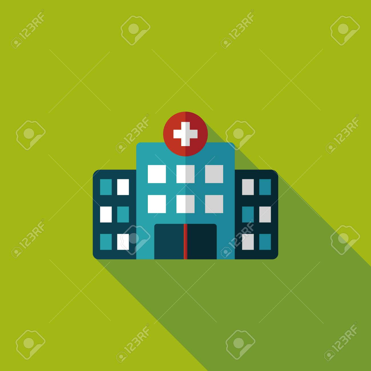 building hospital flat icon with long shadow,eps10 - 34897926