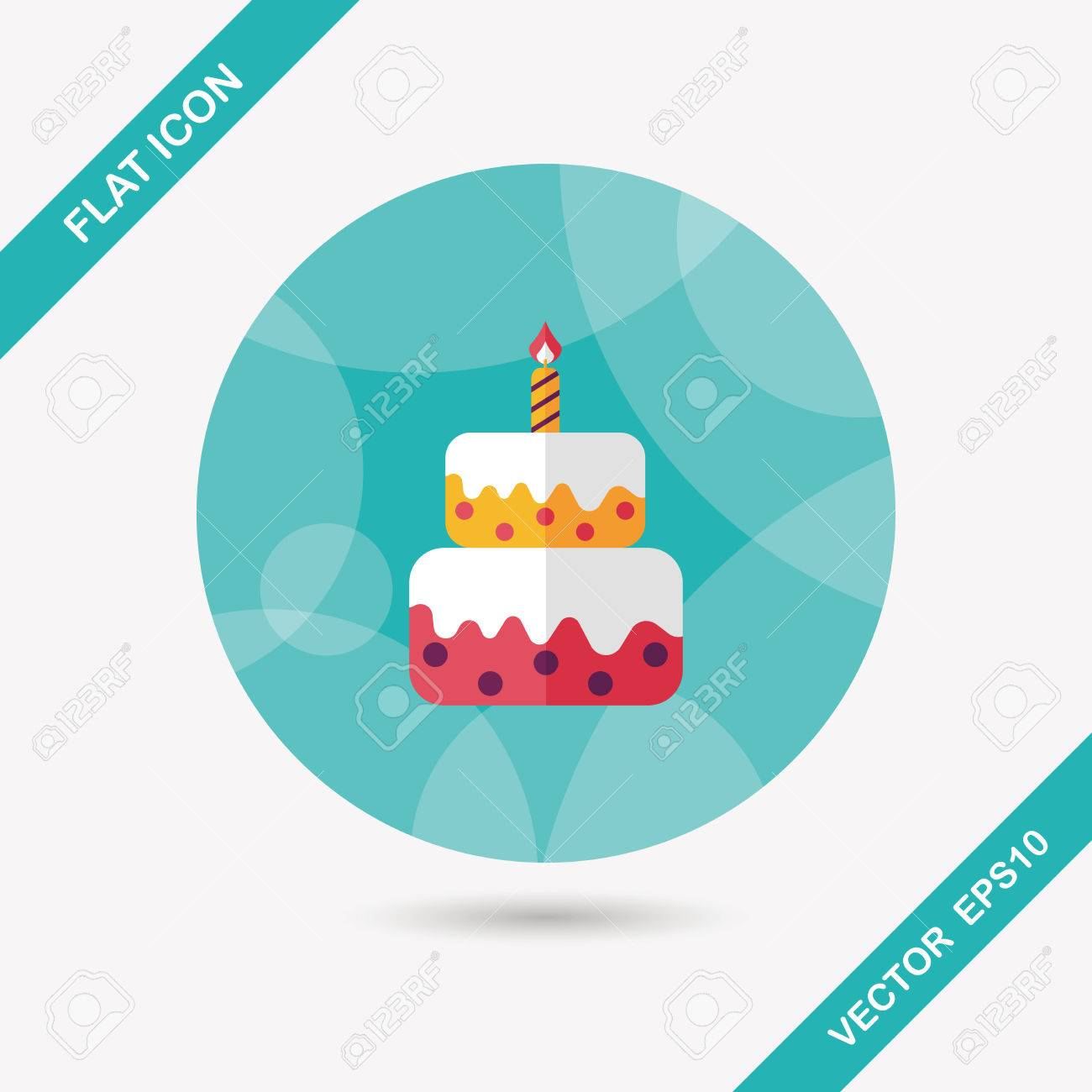 birthday cake flat icon with long shadow,eps10 - 35868864