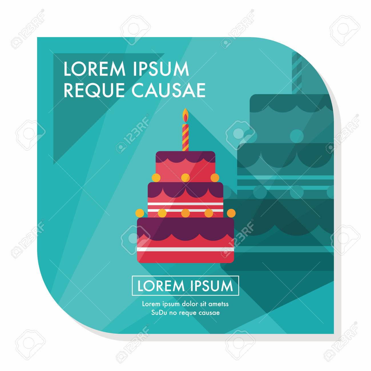 birthday cake flat icon with long shadow,eps10 - 39113372