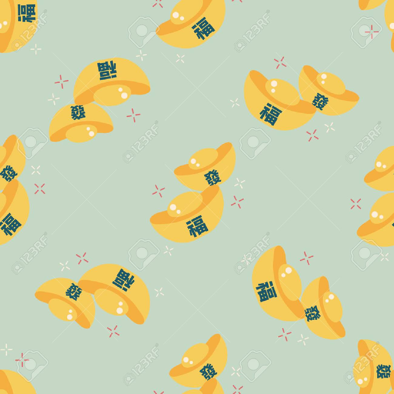 """Chinese New Year flat icon with long shadow,eps10, Gold ingot with Chinese words means """" wish good luck."""" - 39092862"""