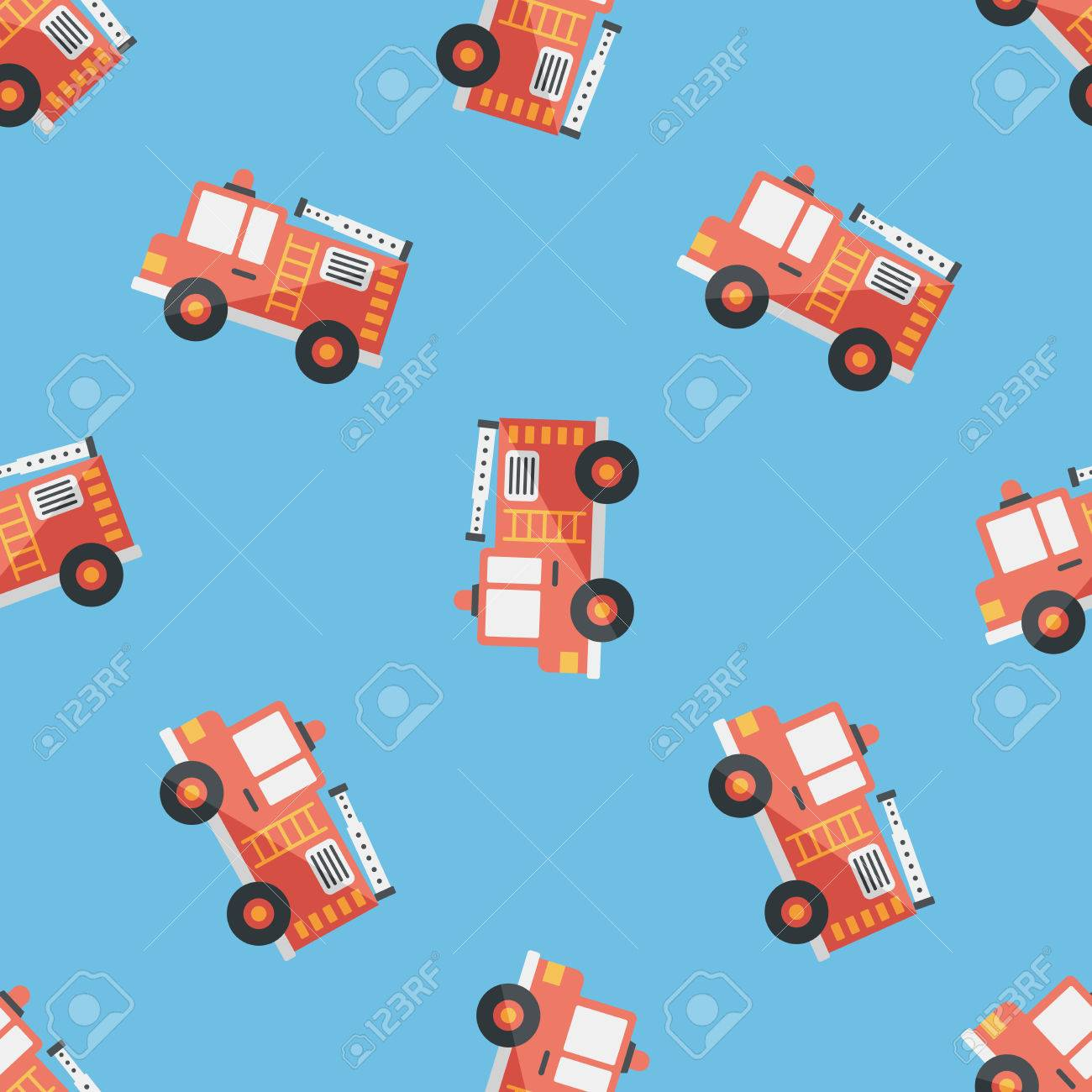 transportation fire truck flat icon eps10 seamless pattern