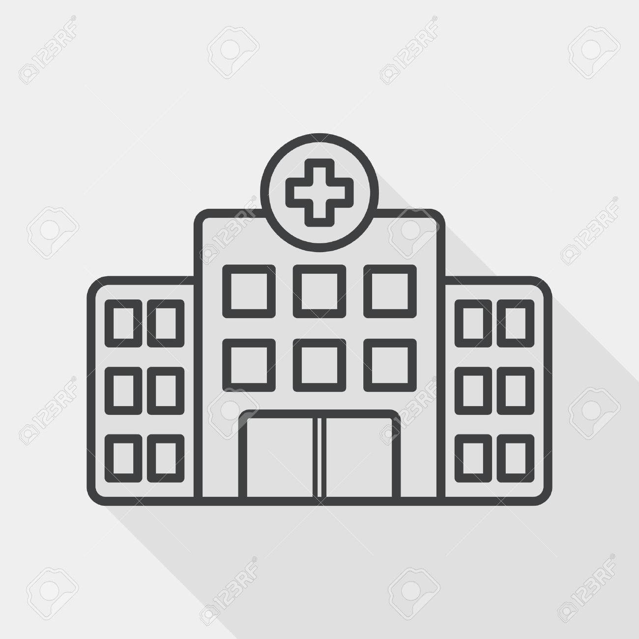 building hospital flat icon with long shadow, line icon - 39492306