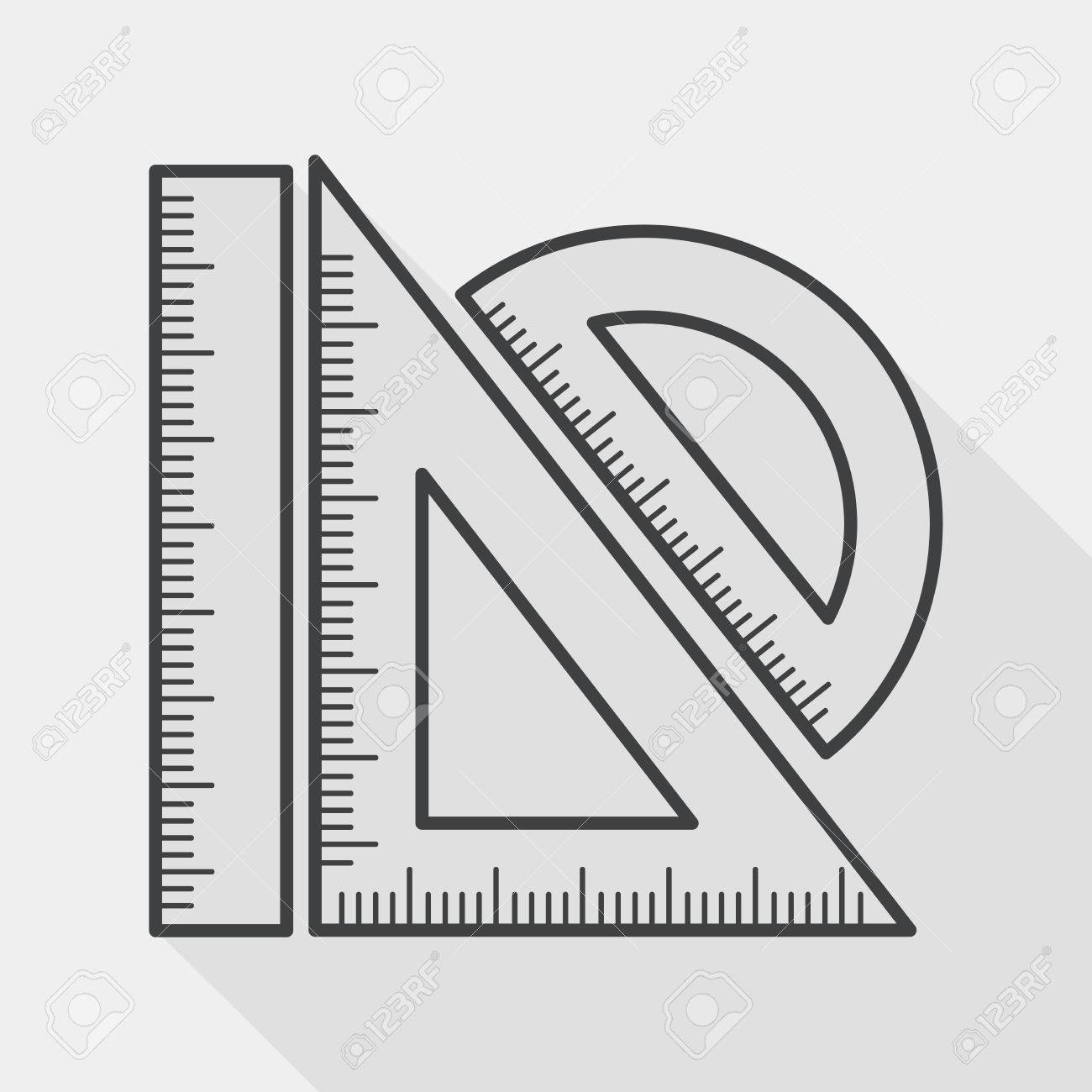 Ruler flat icon with long shadow, line icon - 39492340