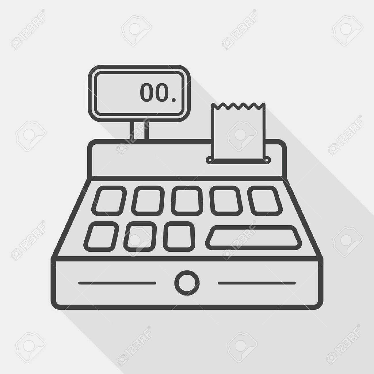 shopping cash register flat icon with long shadow, line icon - 39493674