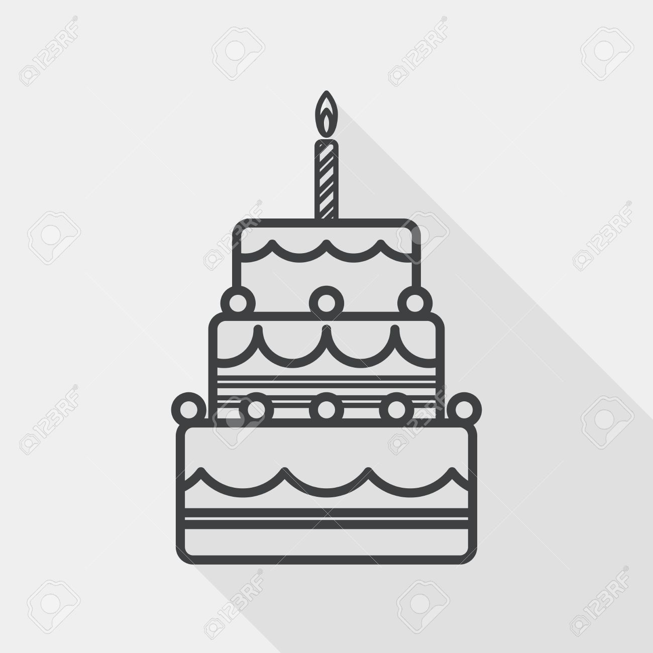 birthday cake flat icon with long shadow, line icon - 39505359