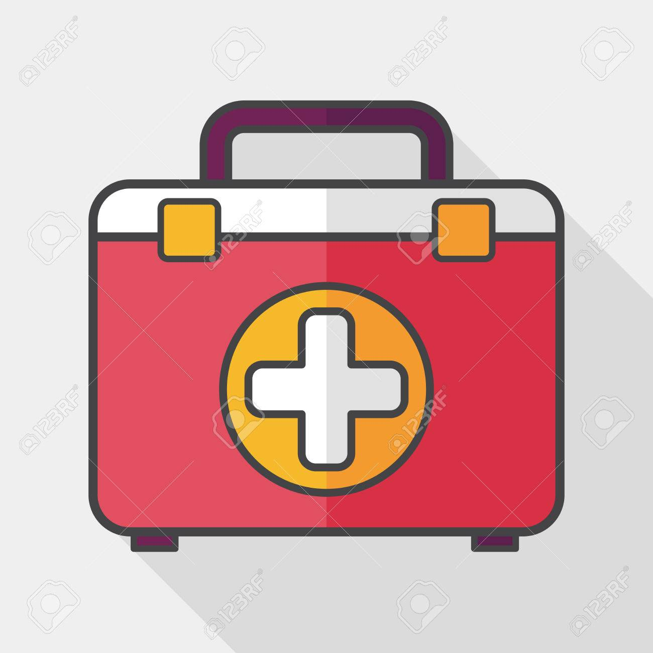 first aid kit flat icon with long shadow, - 44876092