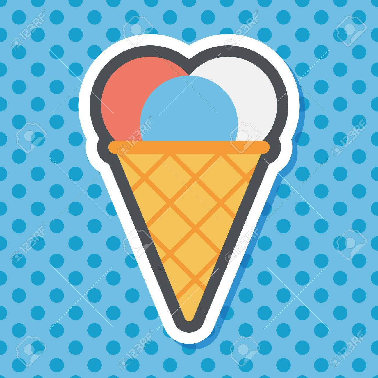 ice cream flat icon with long shadow,eps10 - 47585734