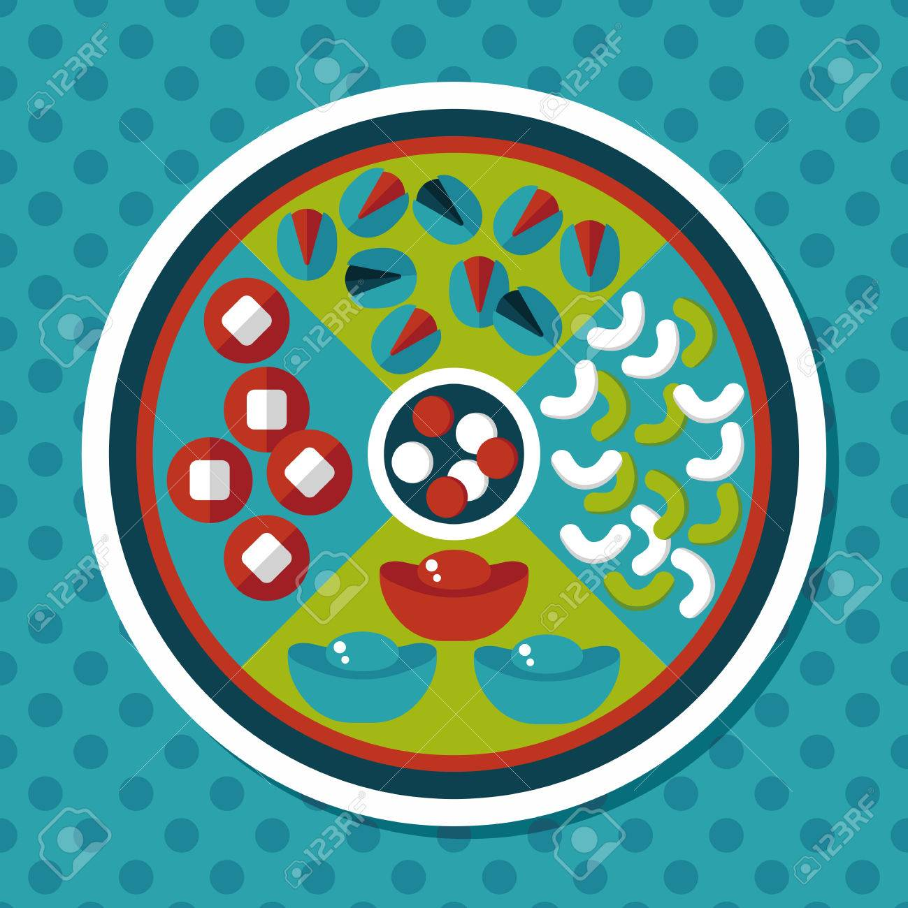 chinese new year flat icon with long shadoweps10 chinese desserts plate include nuts - How Long Is The Chinese New Year