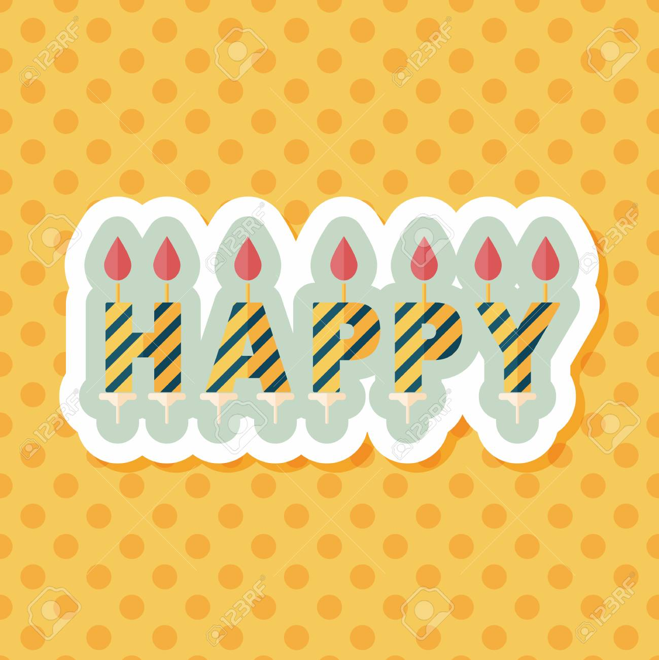 Birthday Candles Flat Icon With Long Shadoweps10 Stock Vector