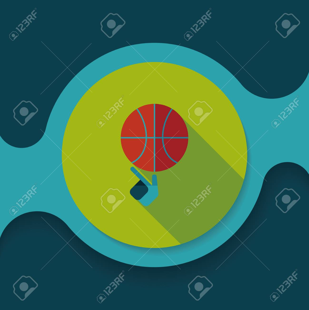 Basketball flat icon with long shadow - 51309657