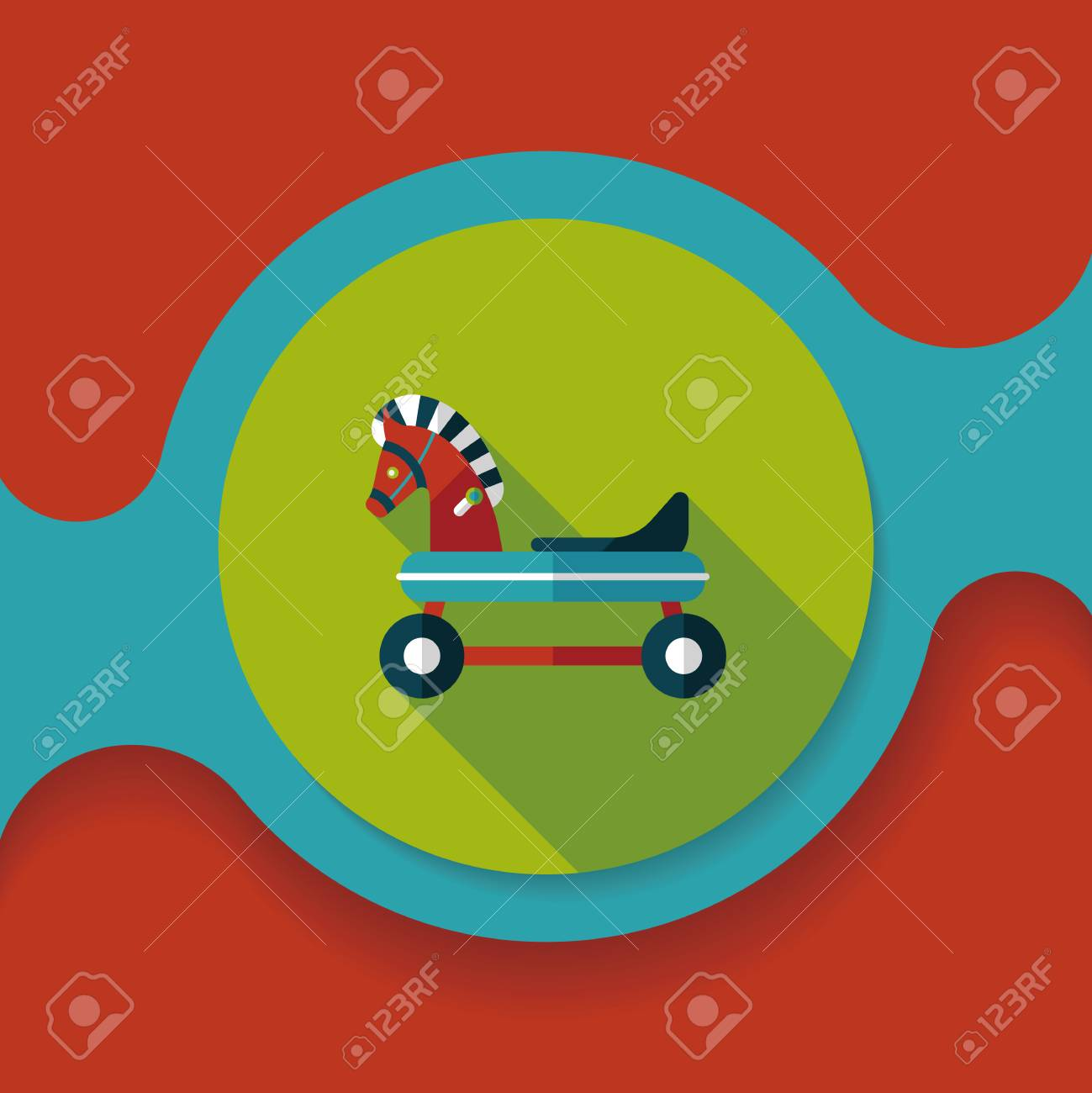 Horse Toy Car Flat Icon With Long Shadow Royalty Free Cliparts