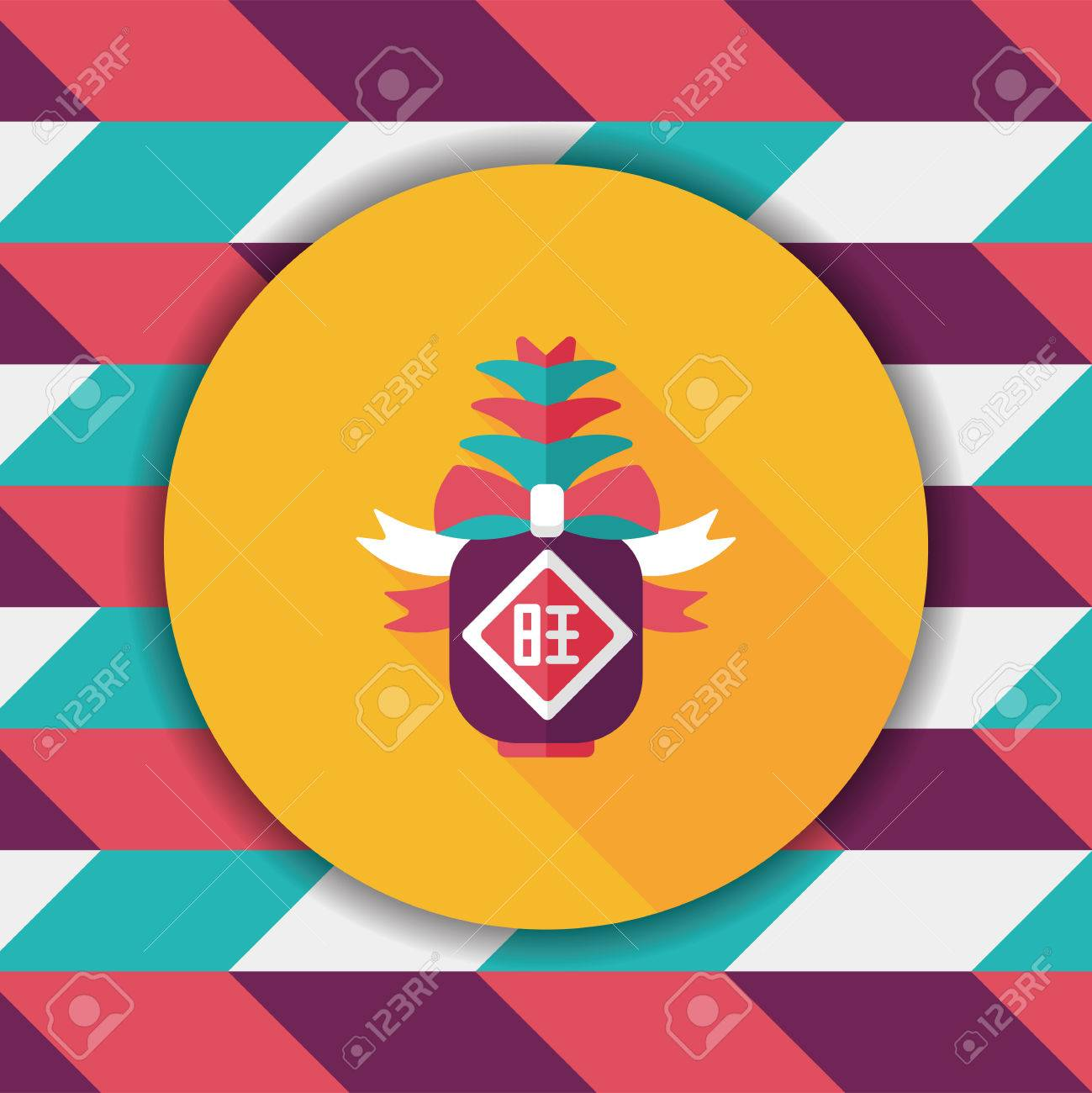 Chinese new year flat icon with long shadow when you send chinese new year flat icon with long shadow when you send pineapple for your friends buycottarizona Images
