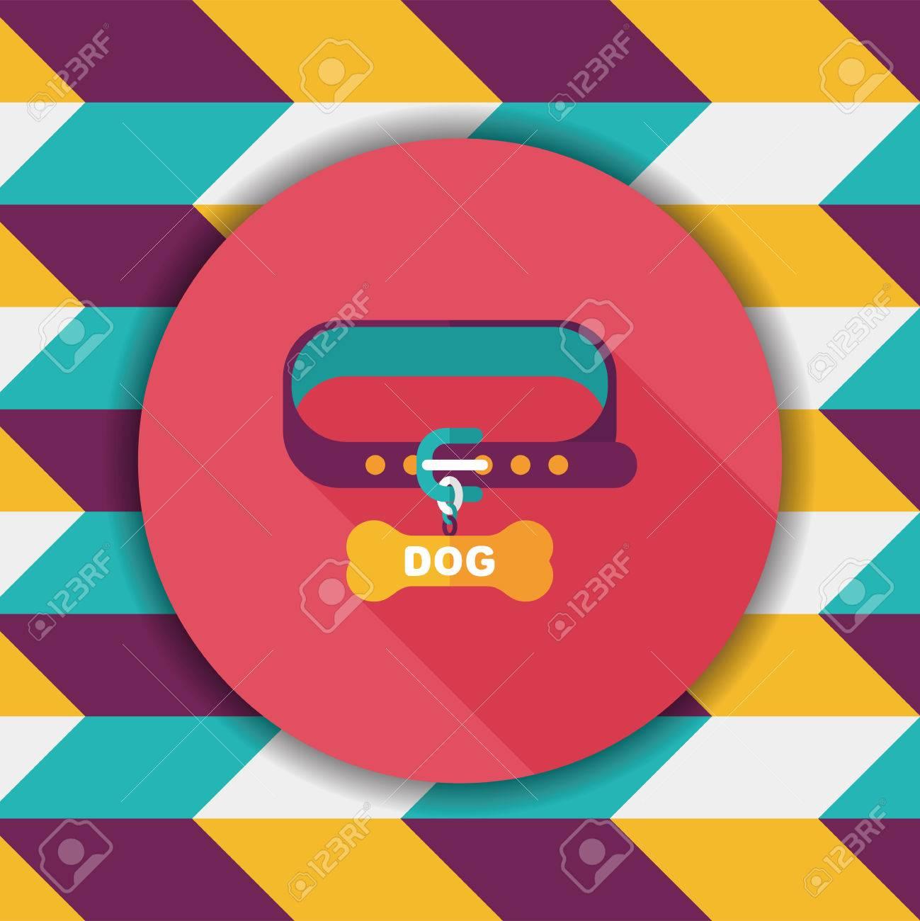 3f72905c7 Cadenas para perros mascotas icono plana con una larga sombra, eps10 Foto de  archivo -