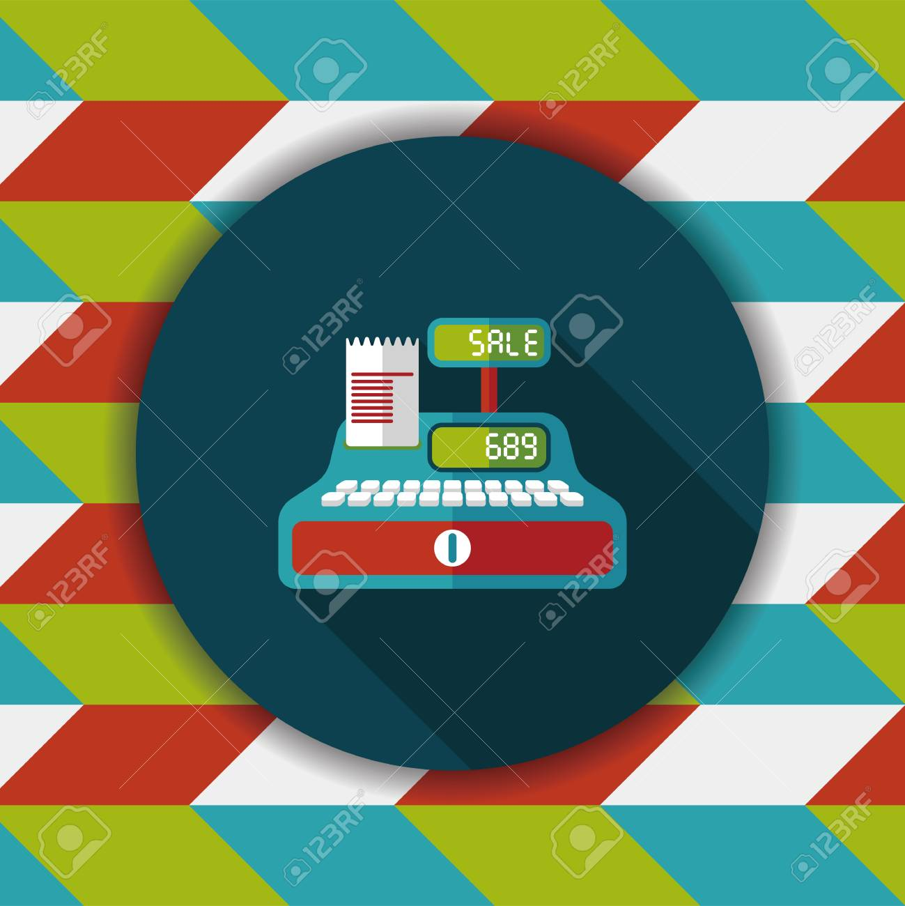 shopping cash register flat icon with long shadow - 56930507
