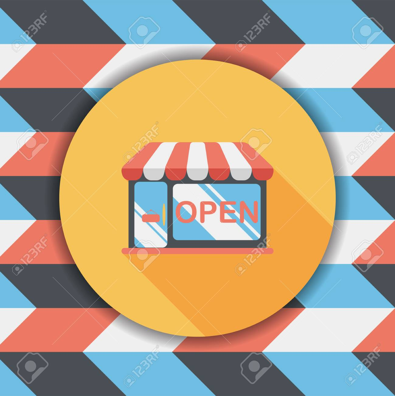 shopping store flat icon with long shadow - 56990368