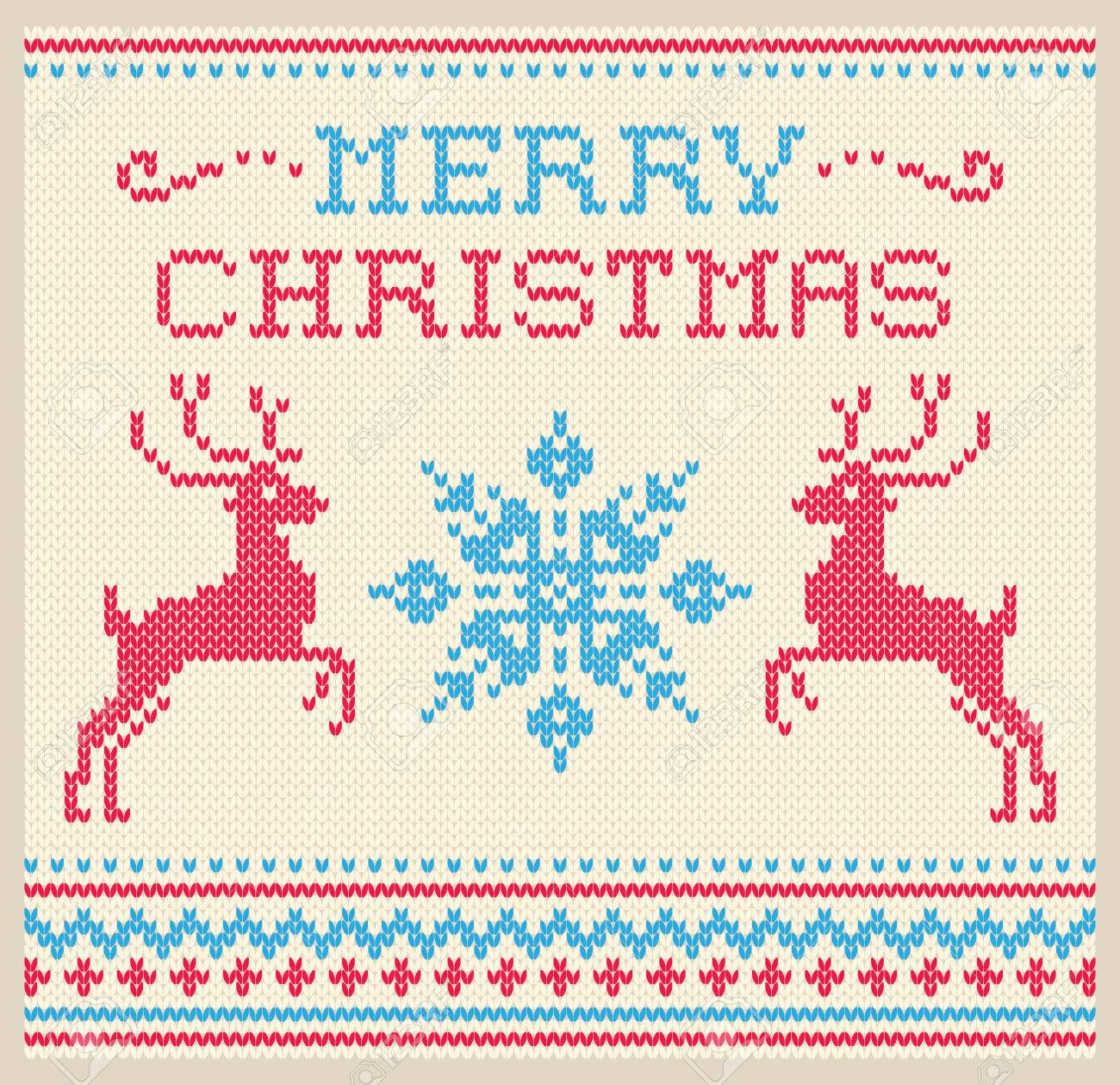 Christmas And Winter Card Scandinavian Style Knitted Pattern ...