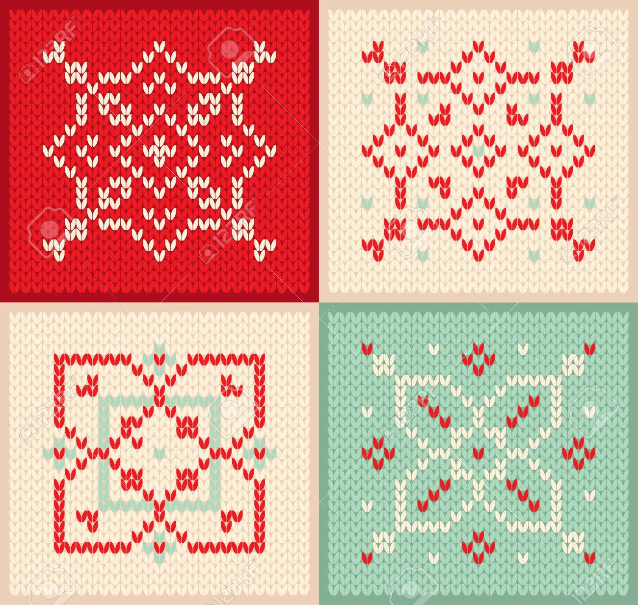 Christmas And Winter Set Knitted Pattern With Snowflakes ...