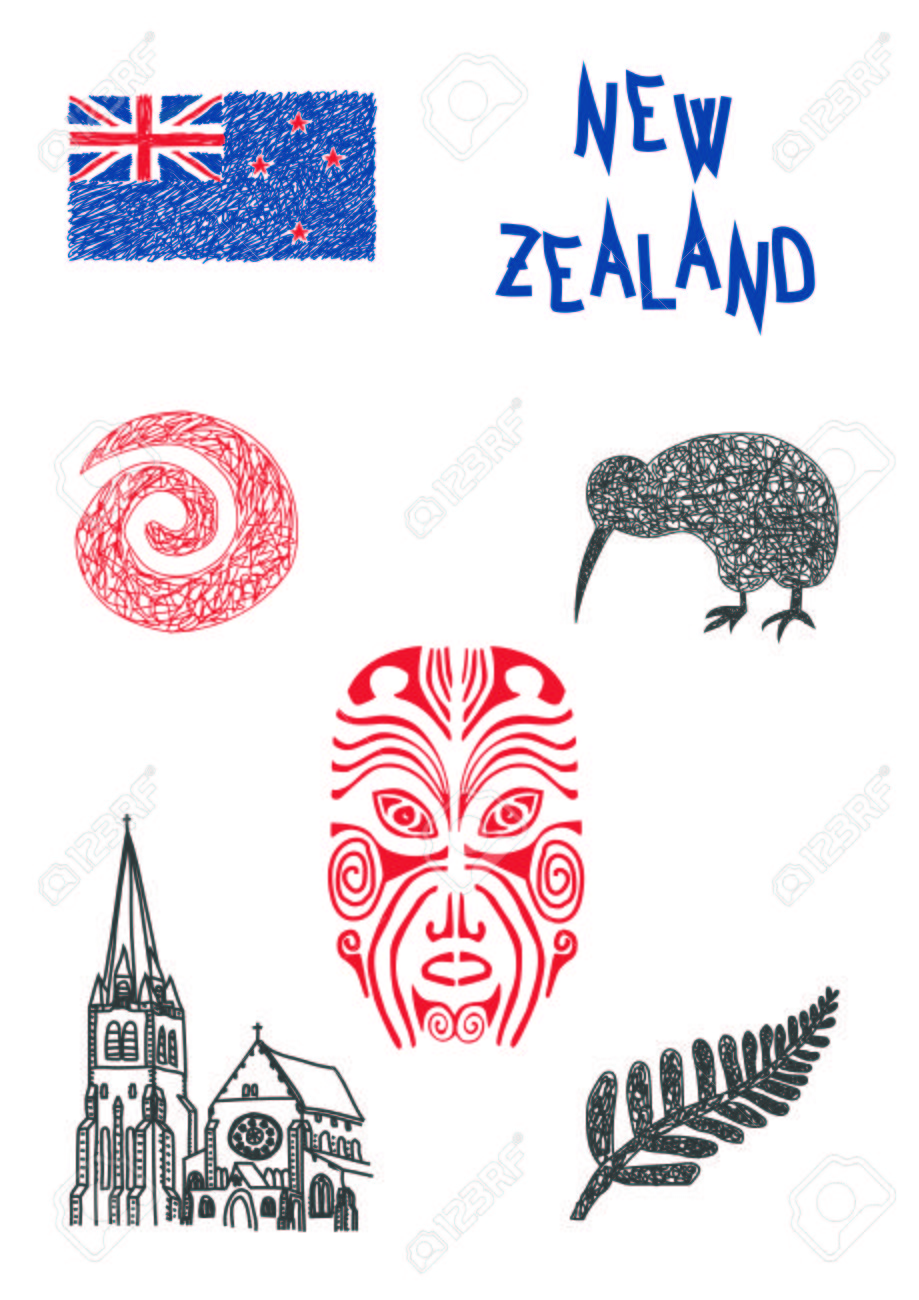 Typical Symbols Of New Zealand Royalty Free Cliparts Vectors And