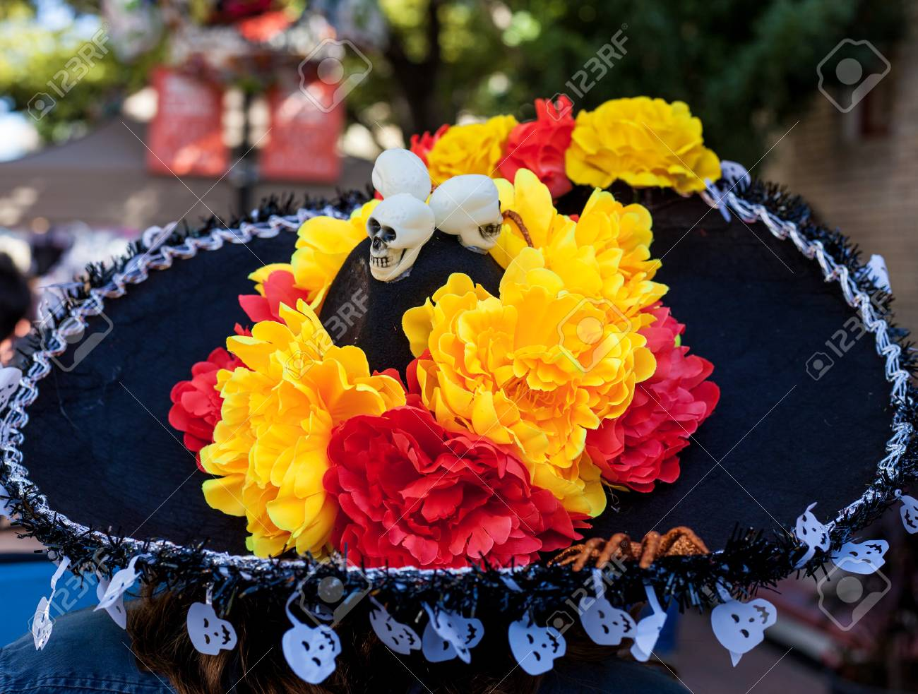 Sombrero Decorated With Paper Mache Flowers And Skulls Fro Dia
