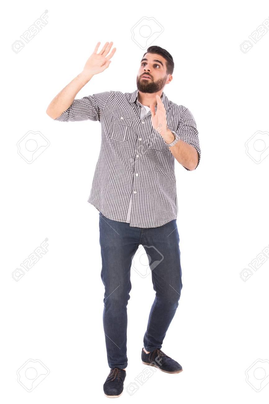 4795114806 Sensibilità di uomo bello barba spaventato, ragazzo che indossa camicia  grigia e jeans, isolato su sfondo bianco