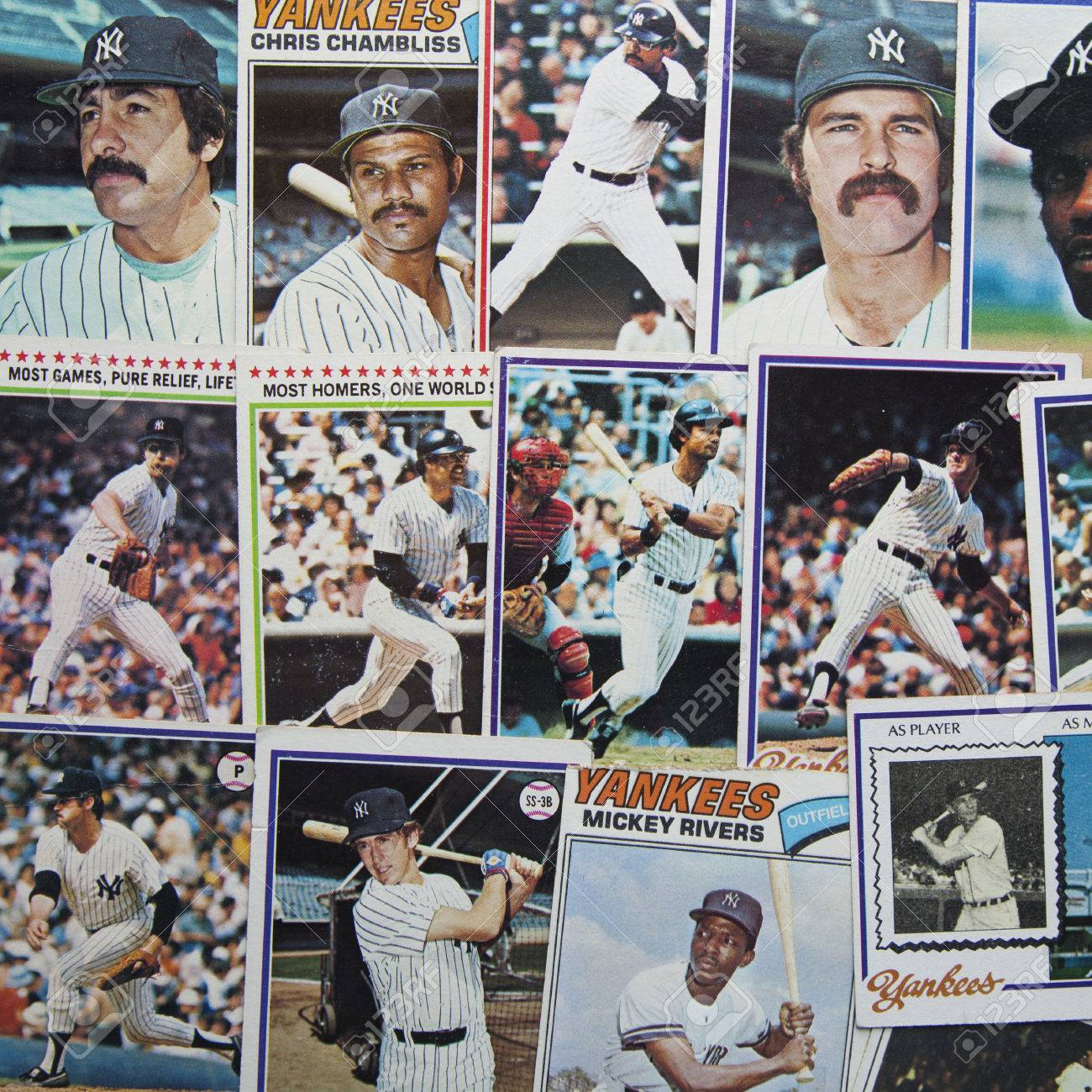 A Group Of Old 1970s Era Baseball Cards Of The New York Yankees