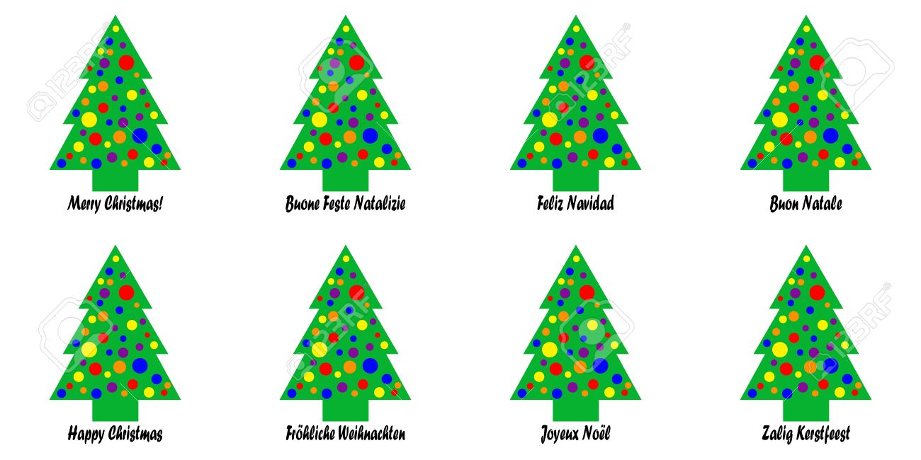 Whimsical christmas tree tags with a christmas greeting in various whimsical christmas tree tags with a christmas greeting in various languages languages include english kristyandbryce Gallery