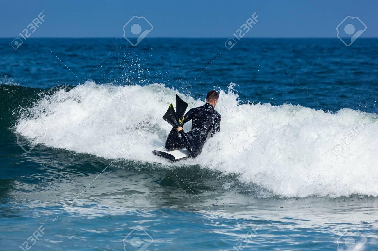 Deal New Jersey September 16 2017 A Bodyboarder Enjoys Surfing