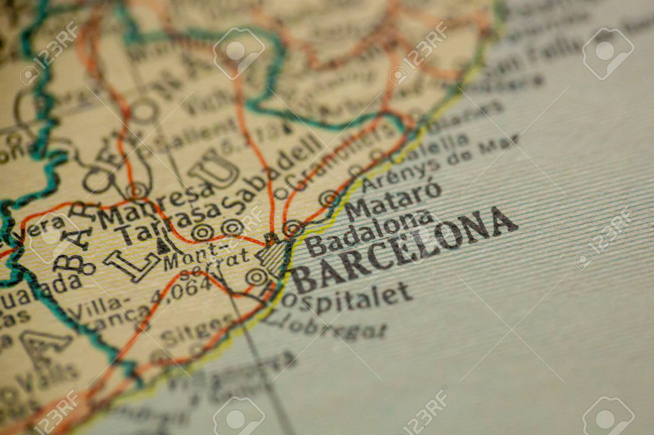 Map Of Spain Old.Barcelona Spain Is The Center Of Focus On An Old Map