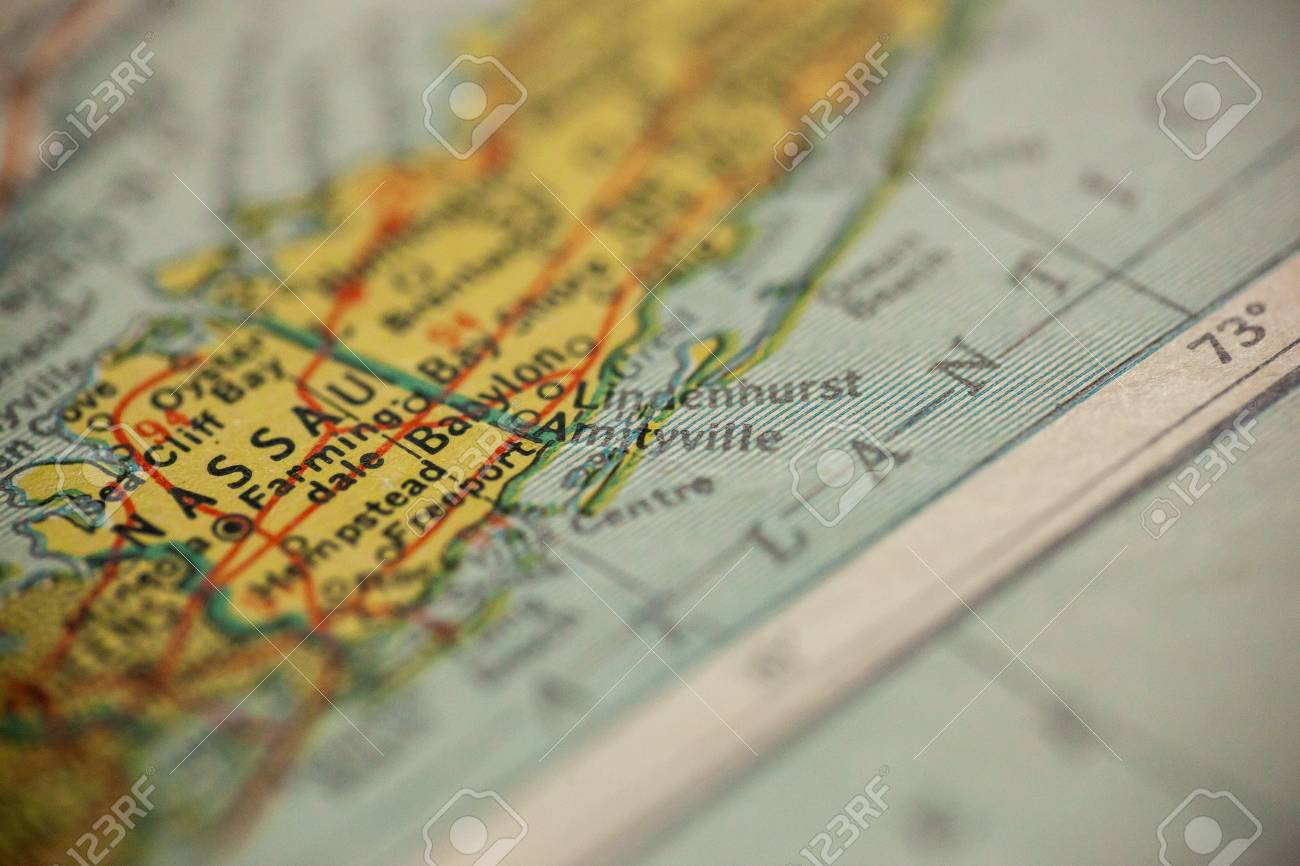 Amityville New York Map.Amityville New York Is The Center Of Focus On An Old Map Stock